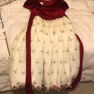 Red Velvet and cream party dress